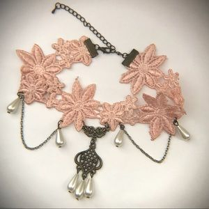 Adorable Pink Lace and Pearl Lolita Chain Choker